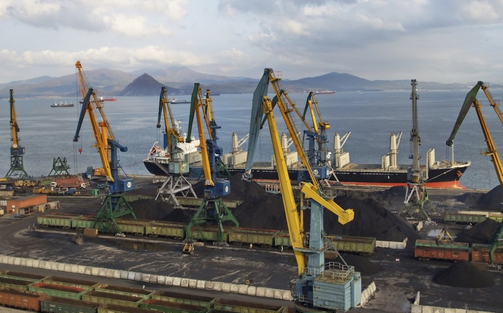 Coal loading on a vessel in port Nakhodka (Far East)