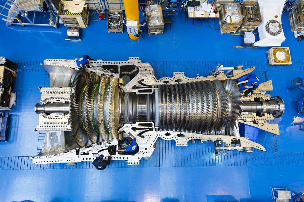PSP31369-063, 9HA.01 Gas Turbine, Rotor on Half Shell, Case, People, Belfort, France, Europe, DI-3200x4900