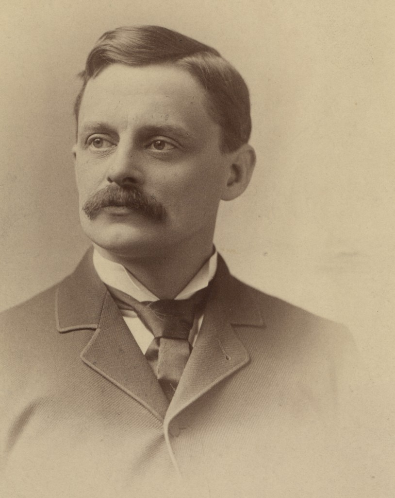 Albumen photograph print of inventor and electrical prioneer Elihu Thomson. Thomson's early work with dynamos, arc lamps, and alternating-current power made him one of the top inventors of the late 19th century. His Thomson-Houston company merged with the Edison General Electric Company in 1892 to form General Electric.