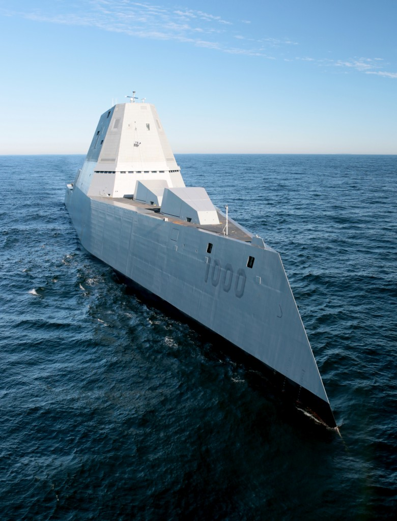 151207-N-ZZ999-505 ATLANTIC OCEAN (Dec. 7, 2015)  The future USS Zumwalt (DDG 1000) is underway for the first time conducting at-sea tests and trials in the Atlantic Ocean Dec. 7, 2015. The multimission ship will provide independent forward presence and deterrence, support special operations forces, and operate as an integral part of joint and combined expeditionary forces.  (U.S. Navy photo courtesy of General Dynamics Bath Iron Works/Released)