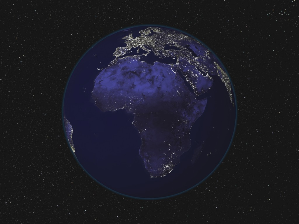 Full Earth at night showing city lights of Africa and Europe